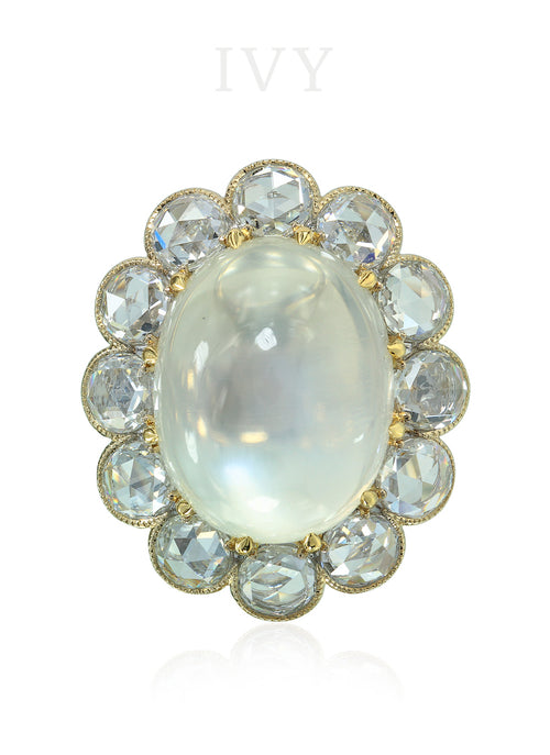Pina Colada Moonstone and Diamond Ring