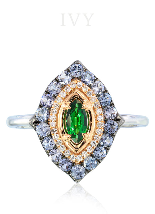 La Marchesa Ring with Tsavorite and Grey Spinel