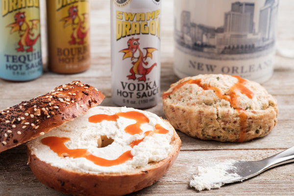 swamp dragon hot sauce on bagels and cream cheese