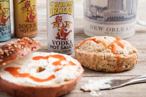 Vodka hot sauce with bagels and scones