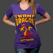 Ladies V-neck t-shirt with full Swamp Dragon graphics on front in purple