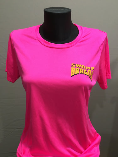 hot pink ladies dri fit t-shirt front with small swamp dragon logo over the left chest area