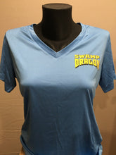 blue ladies dri fit t-shirt front with small swamp dragon logo over the left chest area