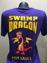 purple ladies dri fit t-shirt rear with large swamp dragon logo and Marvin the Baby Dragon
