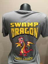 gray ladies dri fit t-shirt rear with large swamp dragon logo and Marvin the Baby Dragon