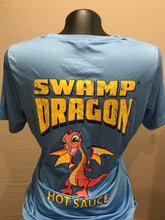 blue ladies dri fit t-shirt rear with large swamp dragon logo and Marvin the Baby Dragon