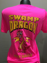 hot pink ladies dri fit t-shirt rear with large swamp dragon logo and Marvin the Baby Dragon