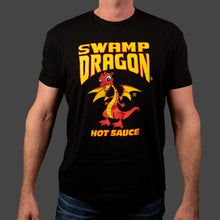 Black unisex t-shirt with full size full color Swamp Dragon graphics on front