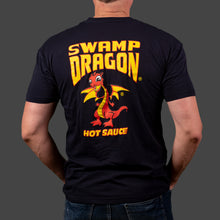 Male navy t-shirt rear view with full graphic Swamp Dragon art