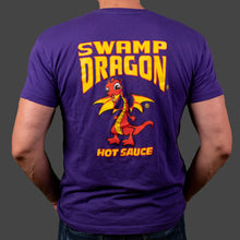 Male purple t-shirt rear view with full graphic Swamp Dragon art