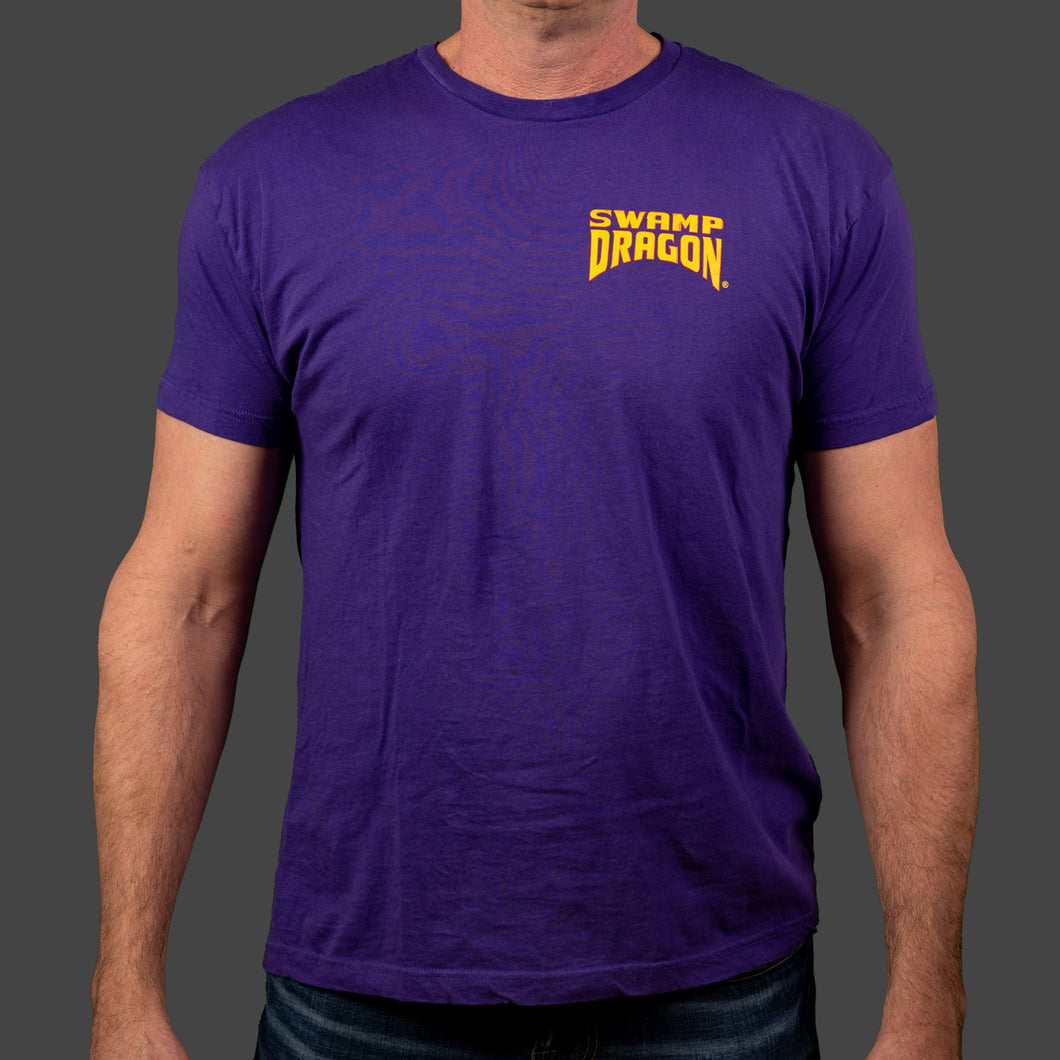 Male purple t-shirt with left breast Swamp Dragon logo