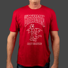 Red unisex t-shirt with full size white ink Swamp Dragon graphics on front
