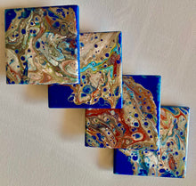 Abstract Acrylic Coasters on Ceramic Tile 4 1/4 x 4 1/4 Inches