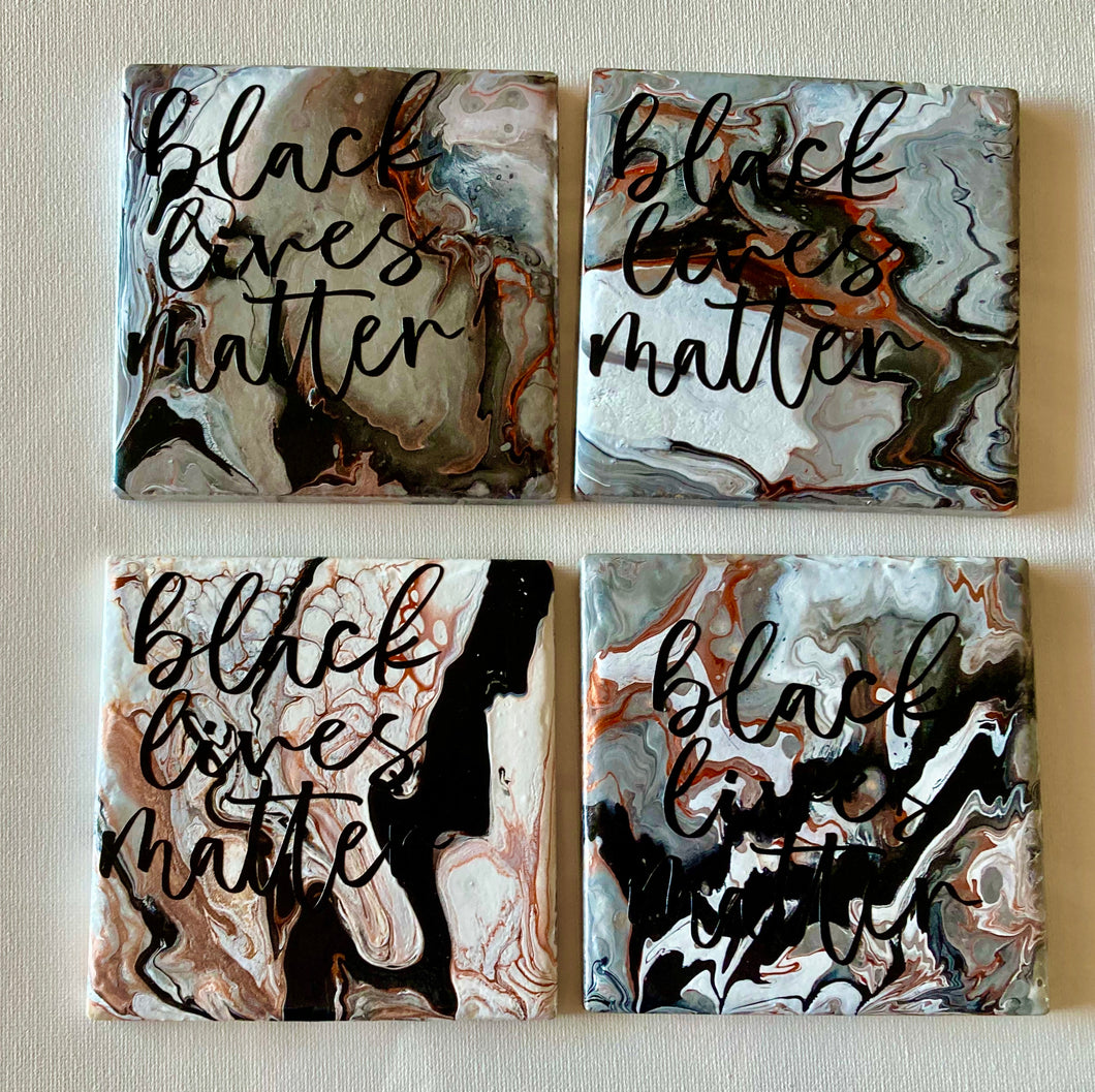 Black Pride Gift 4 x 4 Inches, Black Lives Matter Coasters