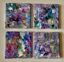 Four Abstract Painted Pour on Coasters 4 x 4 Inches