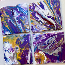 Hand Painted Abstract Coasters 4 x 4 inches
