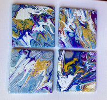 Hand Made  Abstract Coasters 4 x 4 Inches