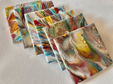 Abstract Hand Painted Coasters 4 x 4
