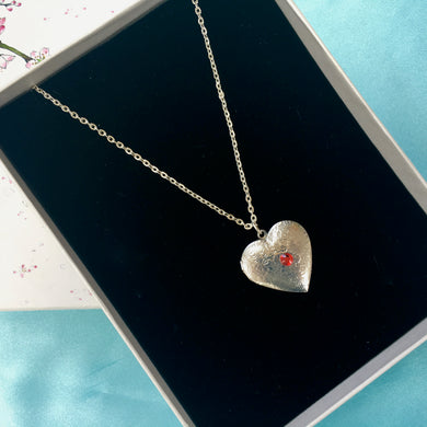Heart Birthstone Locket Necklace