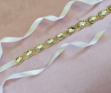 Rhinestone Wedding Sash,  Gold Bridal Belt