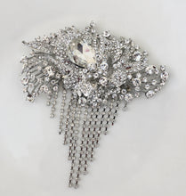 Art Deco Crystal Brooch, Great Gatsby Rhinestone Pin