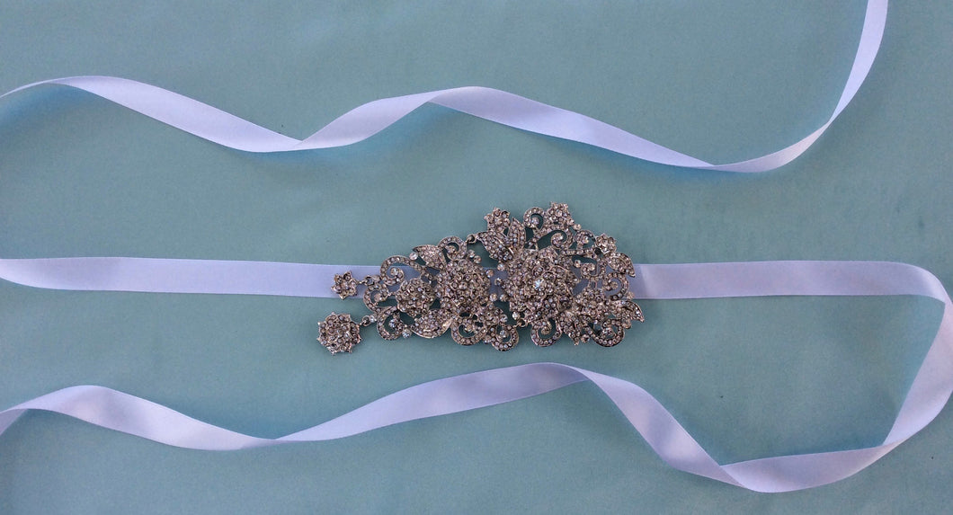 Bridal Wedding Sash, Rhinestone Wedding Gown Belt