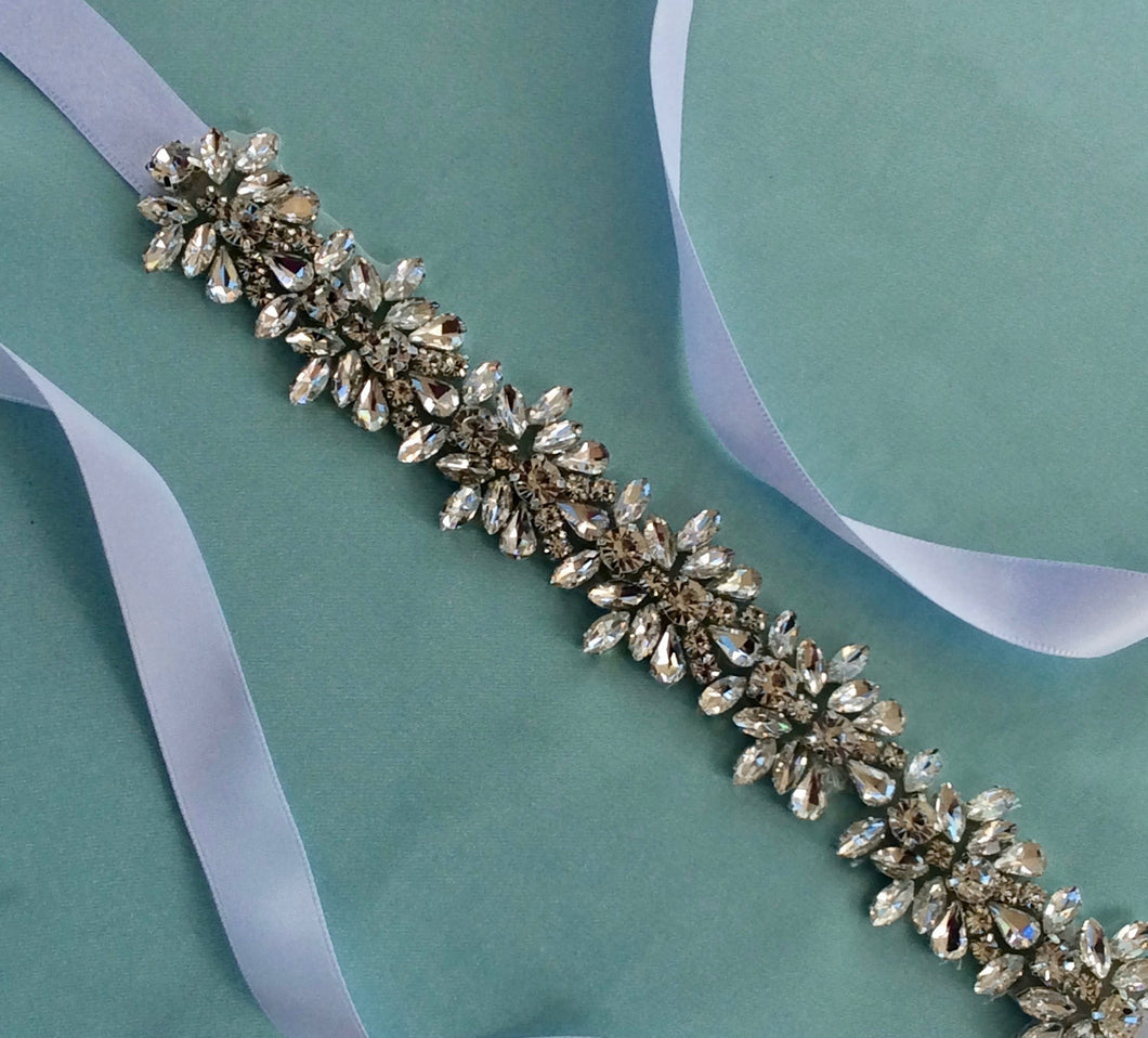 Bridal Rhinestone Sash, Wedding Sash, Bridal Gown Accessory