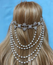 Boho Crystal Pearl Rhinestone Headpiece for Bridal Wedding