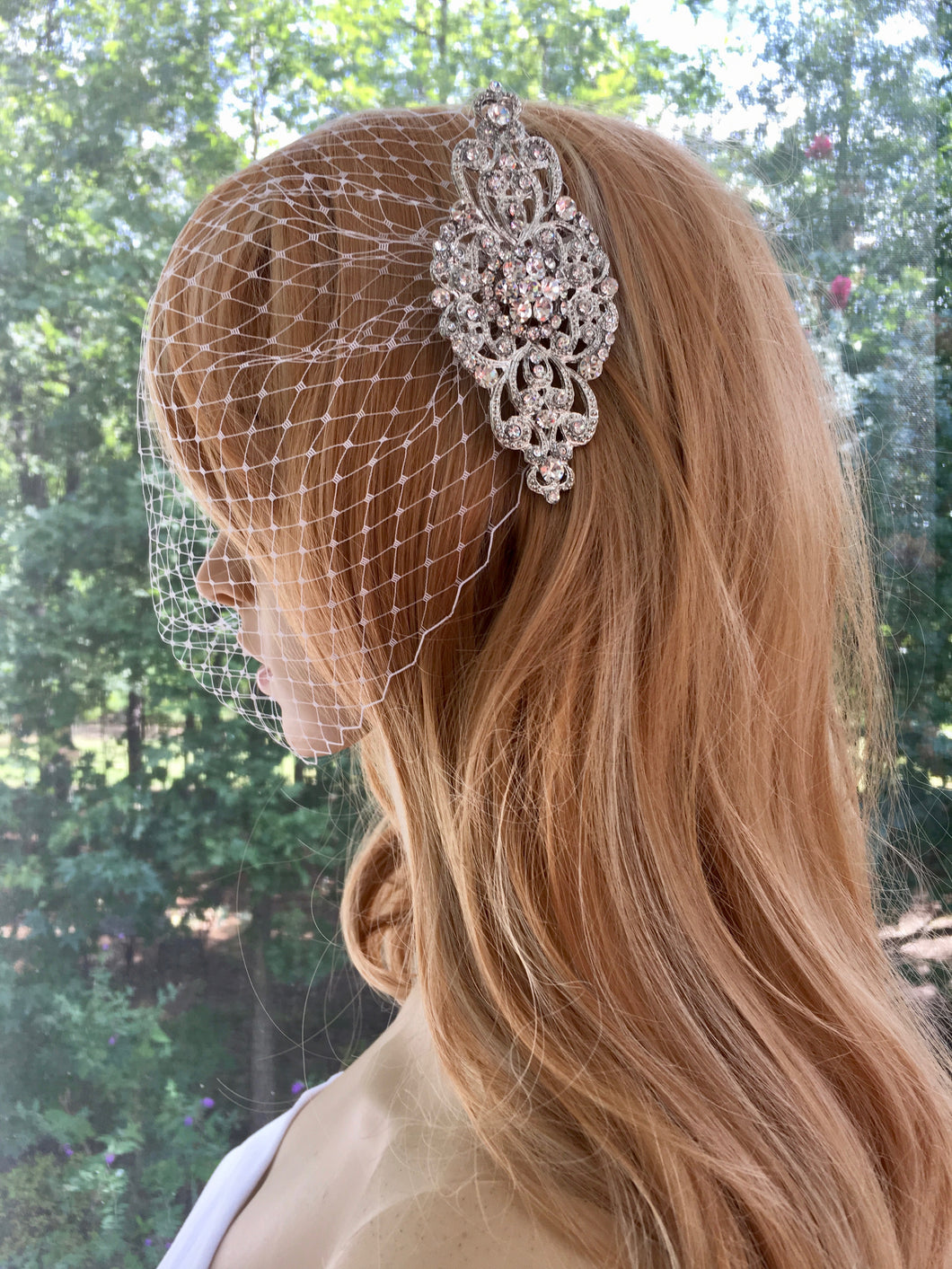 Bandeau Birdcage Veil, Bridal Blusher For Wedding Art Deco Wedding