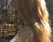 Boho Wedding Shoulder Necklace, Bridal Backdrop Rhinestone Jewelry