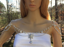 Bridal Wedding Shoulder Necklace, Rhinestone Art Deco Boho Jewelry