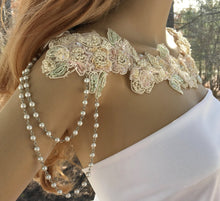 Crystal Applique Sequin Bridal Necklace for Wedding