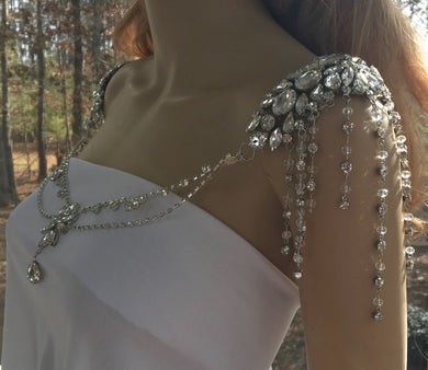 Boho Rhinestone Shoulder Necklace for Bridal Wedding