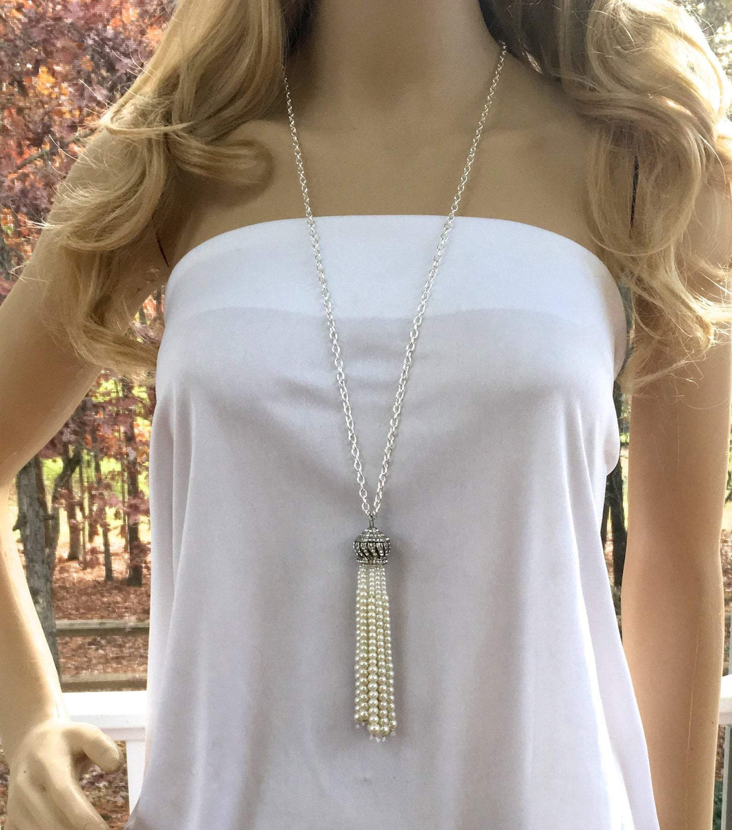 Pearl Flapper Great Gatsby Necklace, Retro Downton Abbey Jewelry