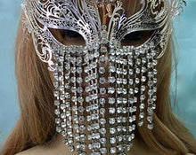 Art Deco Flapper Mask, Great Gatsby Silver Gold Laser Mask