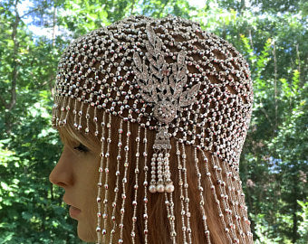 Great Gatsby Art  Deco Headpiece, Flapper Boho Cloche, Downton Abbey Hat