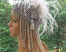 Art Deco Flapper Hat for Great Gatsby Party, 1920s Boho Headpiece