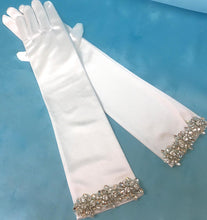 Wedding Bridal Gloves, Art Deco Gloves, Satin Gloves, Elbow Length Gloves