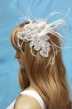 Art Deco Headpiece, Beaded Crystal  Comb, Pink Crystals and Pearls