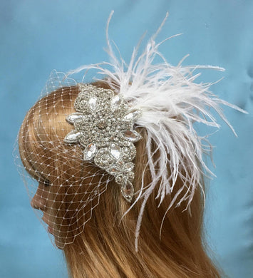 Birdcage Feather Veil For Wedding, Crystal Bridal Veil For Bride