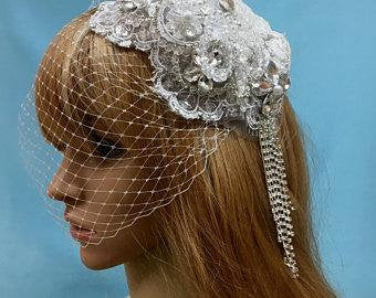 Great Gatsby ,Art Deco Hat Veil, Bridal Wedding Hat