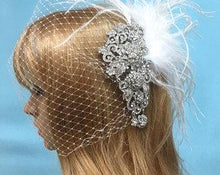 Birdcage Wedding Veil, Crystal Wedding Headpiece, Rhinestone  Comb Headpiece, Boho Veil