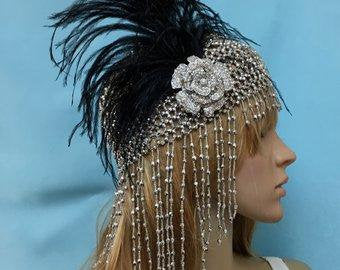 Great Gatsby Art Deco Headpiece,  Boho Flapper Hat Cap