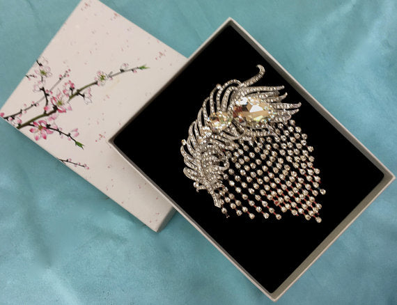 Rhinestone Feather Brooch, Wedding Brooch Pin, Art Deco Brooch