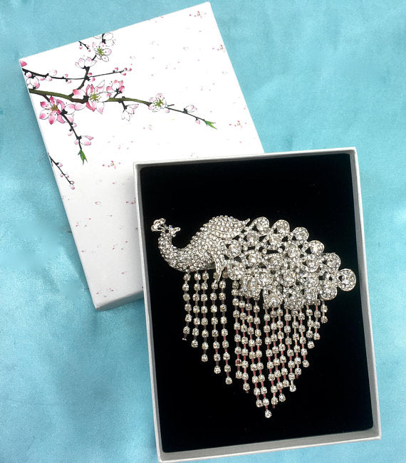 Rhinestone Peacock Brooch, Art Deco Brooch, Wedding Brooch Pin