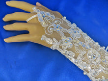 White Bridal Gloves, Lace Wedding Gloves, Lacy Gloves
