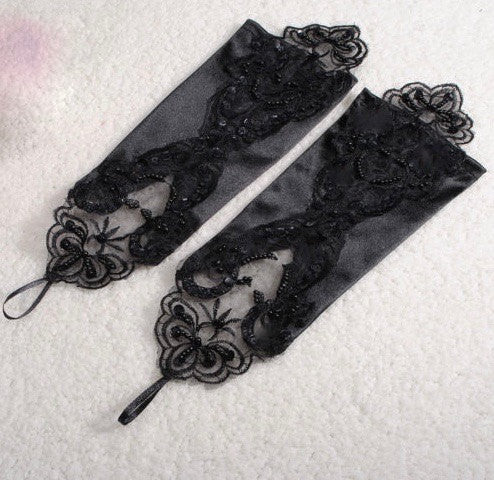 Dress Lace Gloves, Black Wedding Gloves,  Lacy Gloves