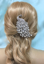 Crystal Rhinestone Peacock Comb, Bridal Boho Wedding Headpiece