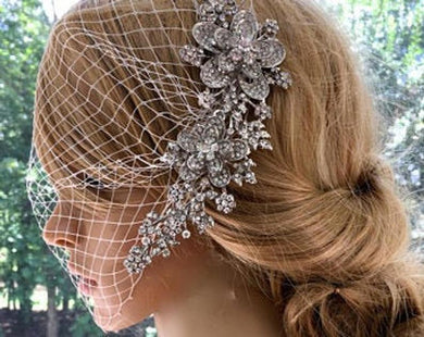 Bridal Veil With Comb For Wedding, Wedding Headpiece With  Birdcage Veil