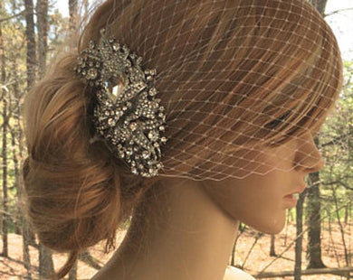 Bridal Birdcage Veil  With Rhinestone Comb For Wedding
